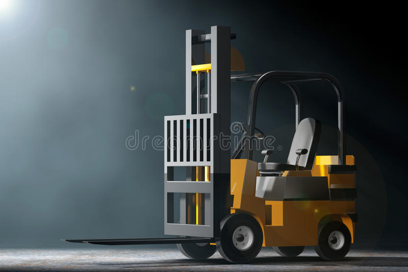 Forklift Truck in the volumetric light. 3d Rendering royalty free illustration