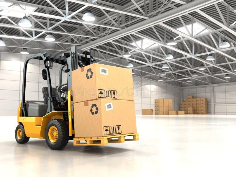 Forklift truck in warehouse or storage loading cardboard boxes. vector illustration