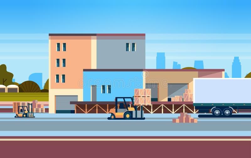 Forklift unloading loading semi trailer outdoor warehouse international delivery concept flat horizontal royalty free illustration