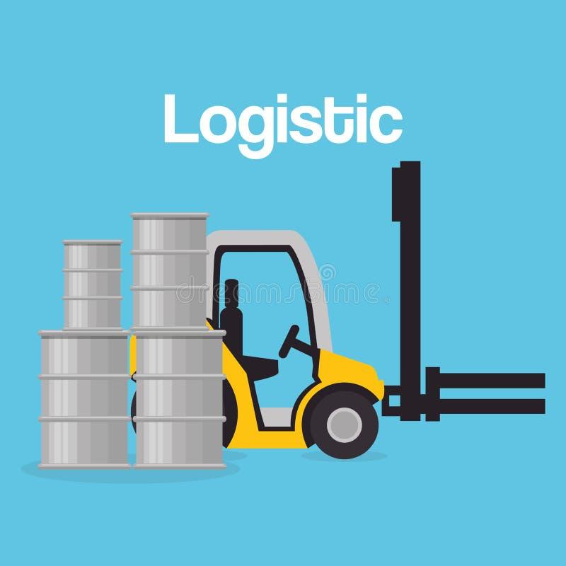 Forklift vehicle with barrels logistic services. Vector illustration design royalty free illustration