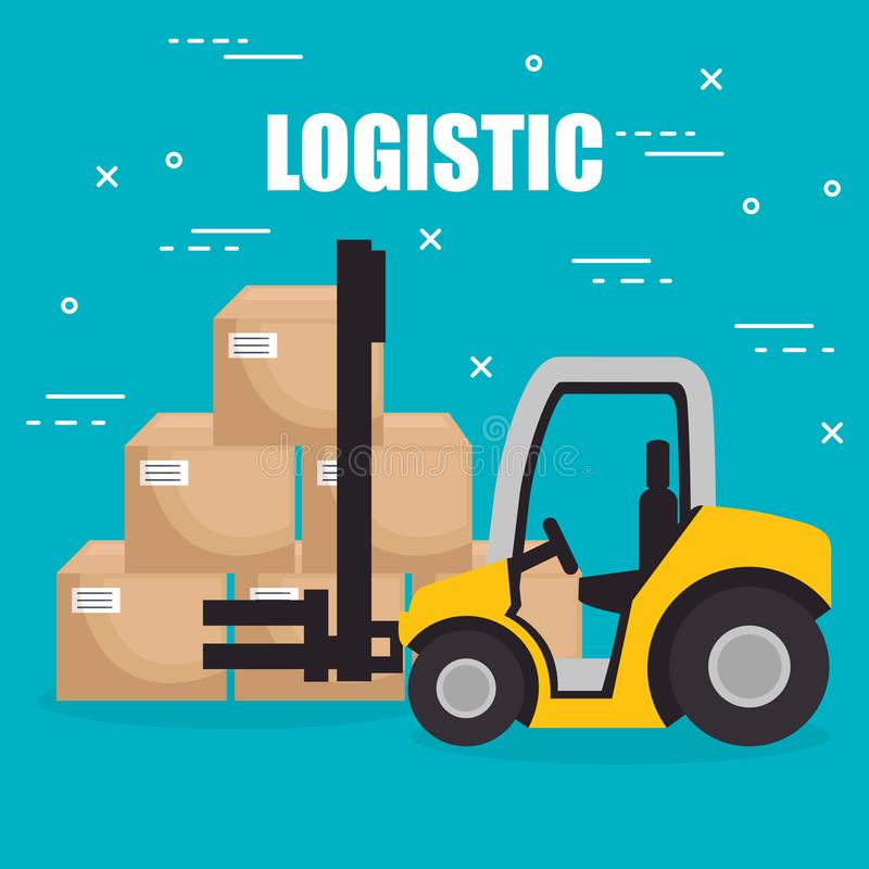 Forklift vehicle with boxes logistic services. Vector illustration design stock illustration