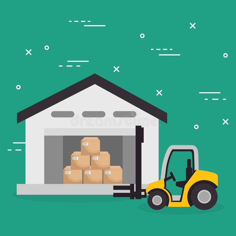 Forklift vehicle with boxes logistic services. Vector illustration design royalty free illustration