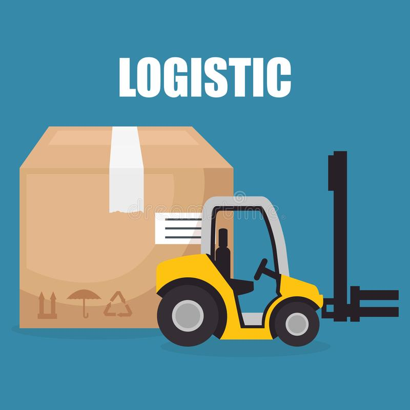 Forklift vehicle with boxes logistic services. Vector illustration design vector illustration