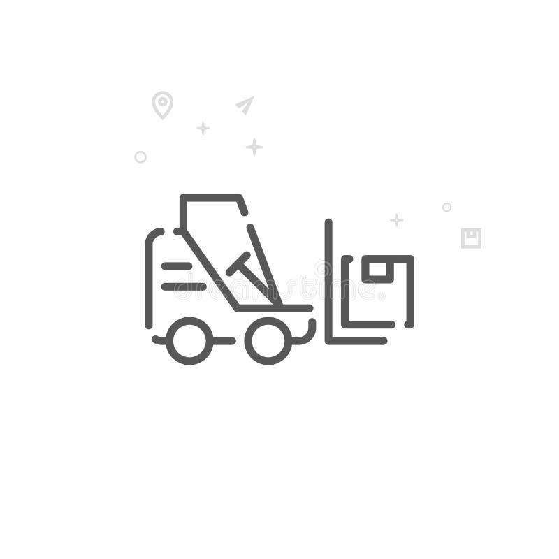 Forklift wektoru linii ikona, symbol, piktogram, znak Lekki abstrakcjonistyczny geometryczny tło Editable uderzenie ilustracji