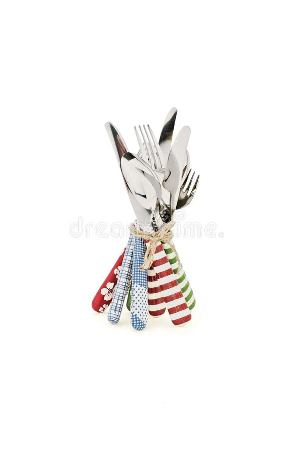 Forks, knifes and spoons set stock photo