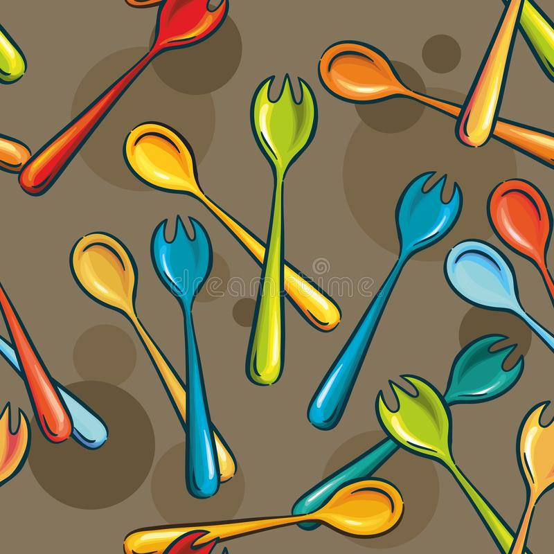 Forks and spoons. utensils for salad royalty free illustration