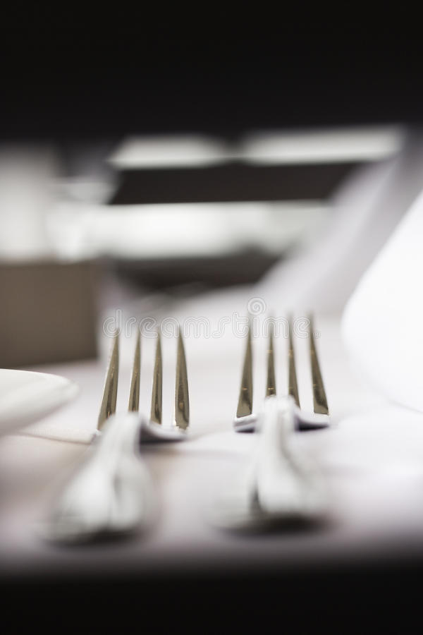 Forks on Table stock image
