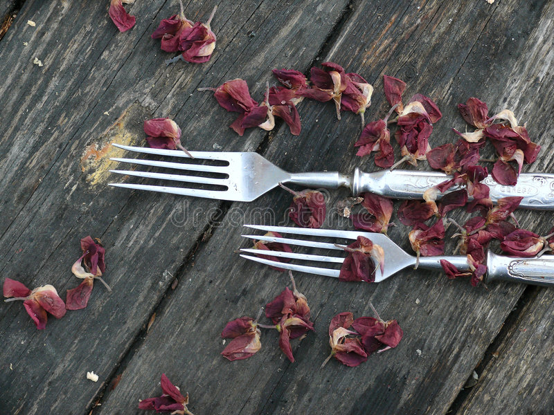 Download Forks. A Tableware. An Old Wooden Table. Stock Photo - Image: 6442078