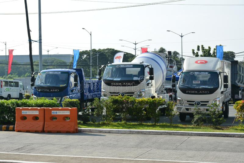 Forland trucks outdoor display. PASAY, PH - AUG. 17: Forland trucks outdoor display on August 17, 2018 at Transport and Logistics in World Trade Center Metro royalty free stock images