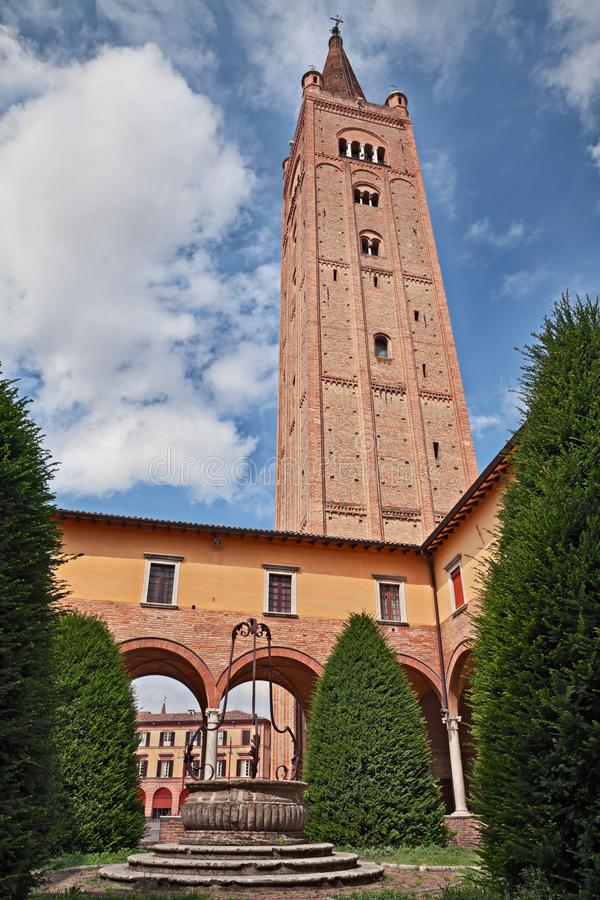 Forli, Emilia-Romagna, Italy: cloister and bell tower of the Abbey of San Mercuriale. Forli, Emilia-Romagna, Italy: the cloister and the bell tower of the stock photography