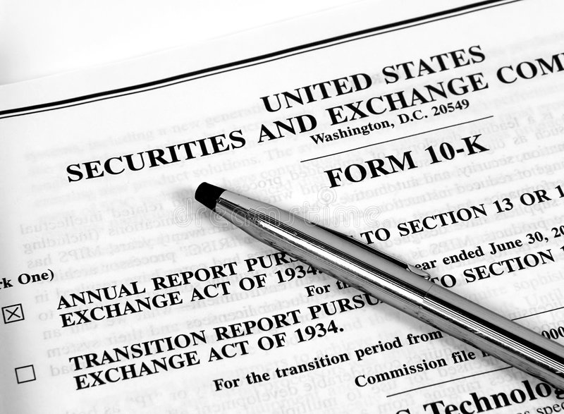 Form 10-K stock photo