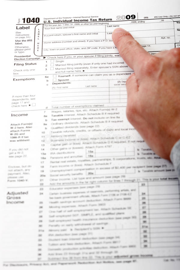 Form 1040. Income Tax Return. Form 1040. Standard US Income Tax Return stock photography