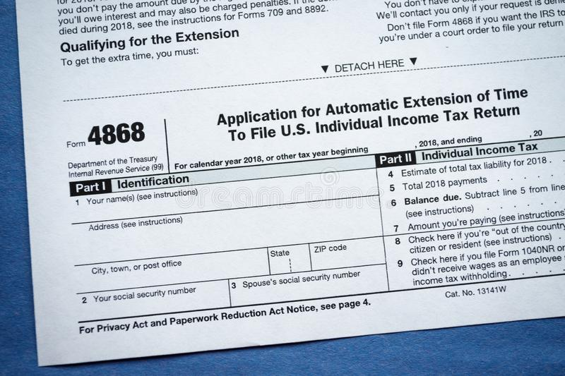 Form 4868 Application for Automatic Extension of Time To File U.S. Individual Income Tax Return. Virginia, USA - January 31, 2019: Form 4868 Application for royalty free stock photos