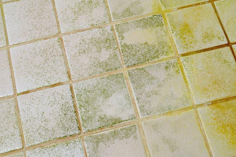 Form auf dem Badezimmerfliesenboden stockbild