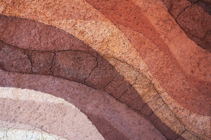 Form av jordlager, dess färg och texturer arkivbilder