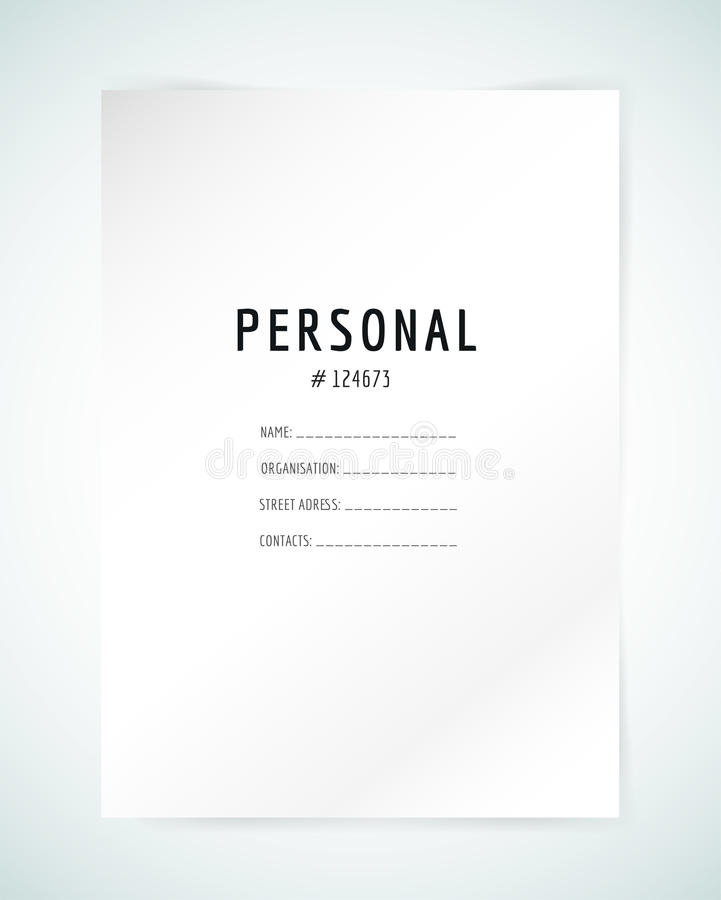 Personal Information Template Form Blank Templatebusiness Folder Paper And Stock Vector .
