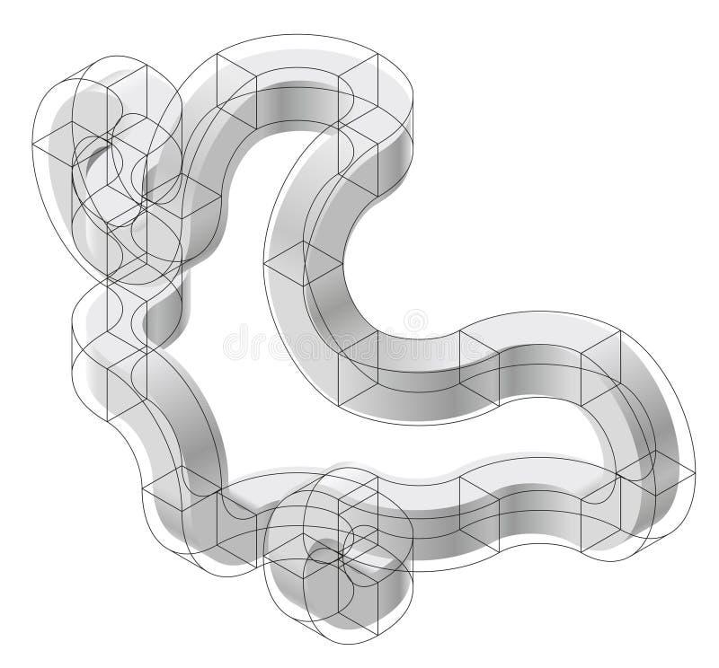 Form des gebogenen Vektors der Zusammenfassung Isometrische Marke der wissenschaftlichen Institution, Forschungszentrum, biologis vektor abbildung
