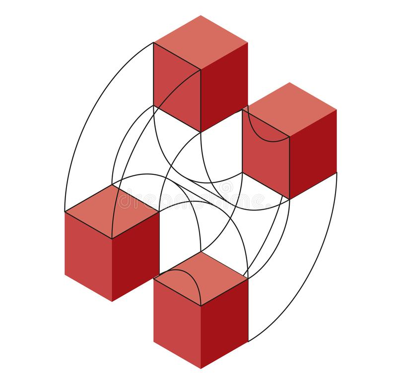 Form des gebogenen Vektors der Zusammenfassung Isometrische Marke der wissenschaftlichen Institution, Forschungszentrum, biologis lizenzfreie abbildung