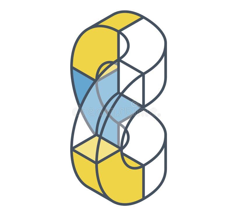 Form des gebogenen Vektors der Zusammenfassung Umrissener isometrischer Gegenstand stock abbildung