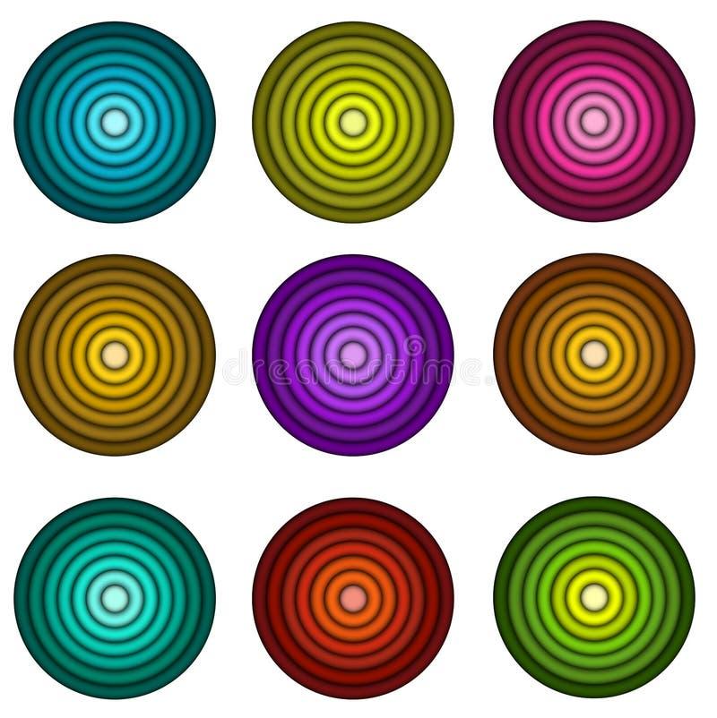 Form des konzentrischen Rohres in den mehrfachen Farben über Weiß lizenzfreie abbildung