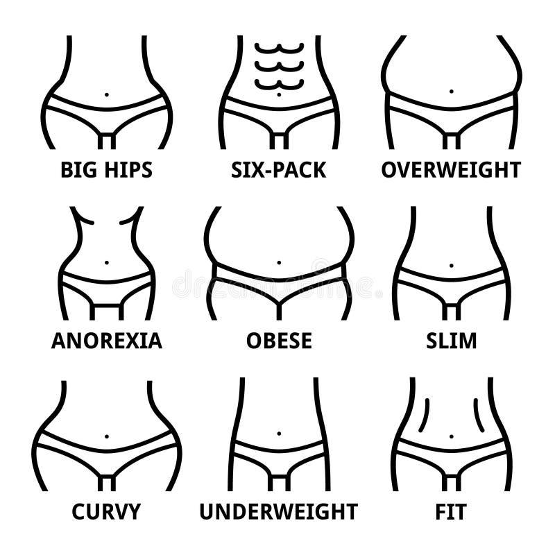 Form des weiblichen Körpers - Sitz, große Hüften, beleibt, überladen, dünn, Magersucht, Sechserpack, beleibt, fett, curvy vektor abbildung
