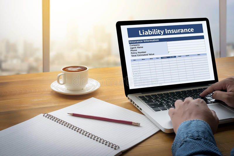 Form Document Liability Insurance Money RIsk. Computing Computer flare sun, Cropped image male freelancer sitting at the table stock images