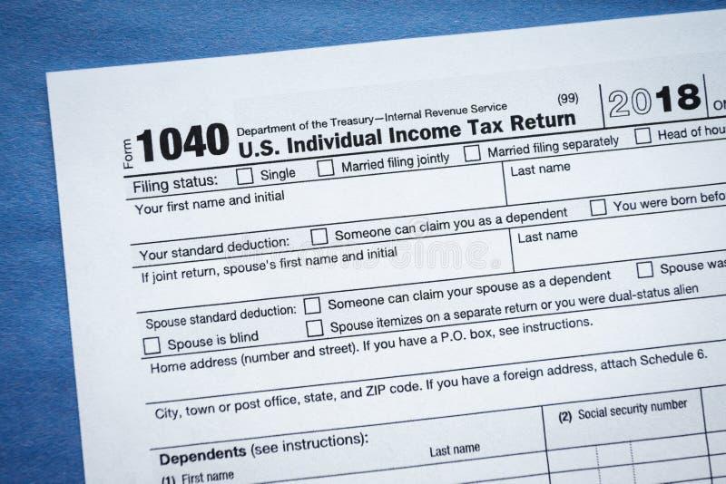 Form 1040 1040EZ U.S. Individual Income Tax Return. Virginia, USA - January 31, 2019: Form 1040 1040EZ U.S. Individual Income Tax Return Internal Revenue Service stock image