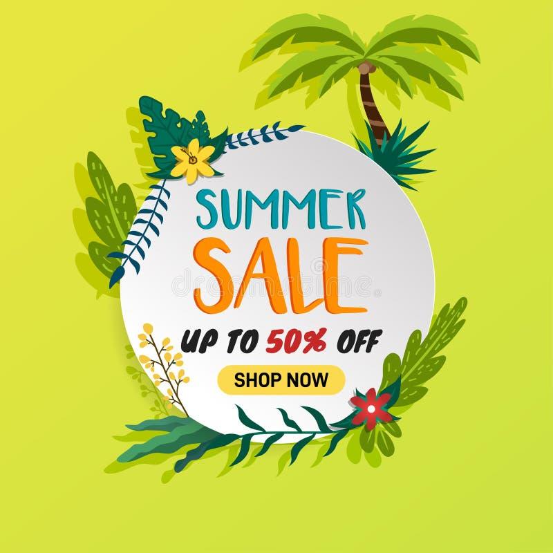 Form för cirkel för whit för sommarförsäljningsrabatt och tropiska objekt på grön limefruktbakgrund - vektor vektor illustrationer