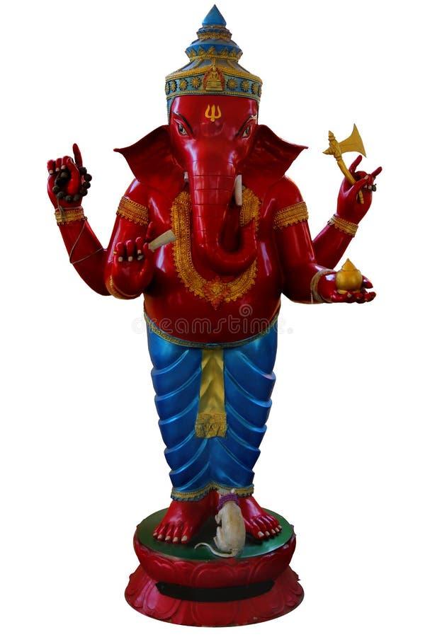 Form för den Ganesha statyställningen med röd hud, Lucky Legend av Ganesha, denhövdade hinduiska guden, bär röd grön blå form Cha fotografering för bildbyråer