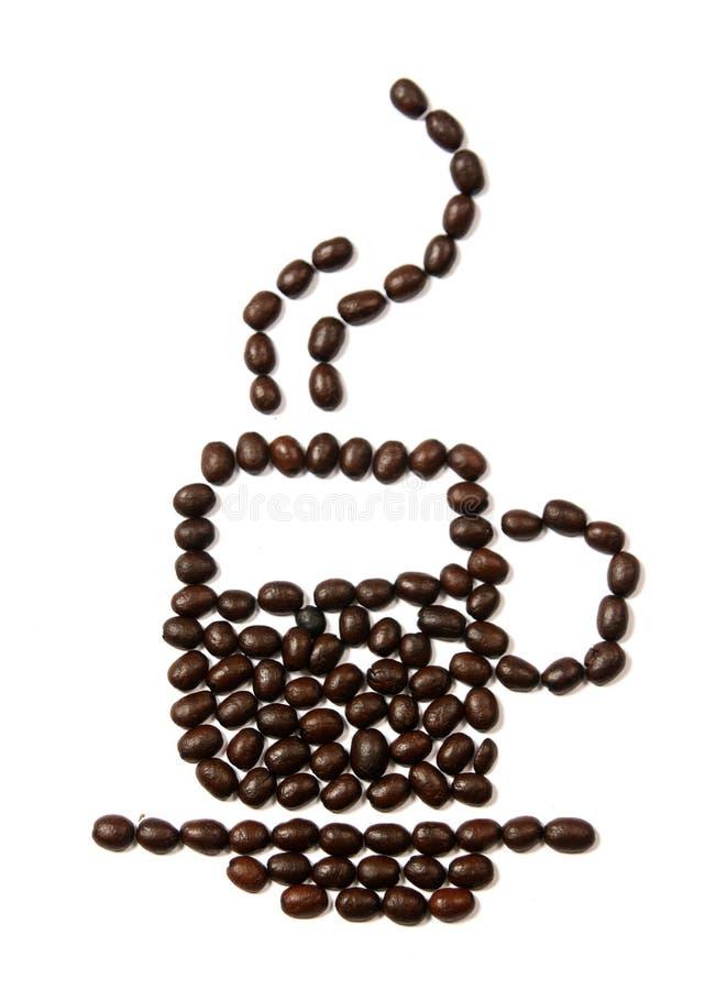 Form för design för kaffebönor av en kopp arkivfoton