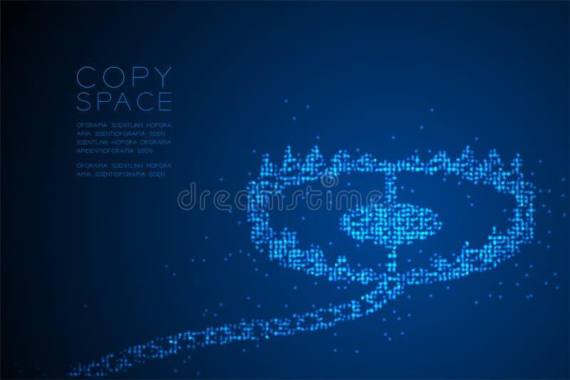 Form för fälla för abstrakt geometrisk modell för cirkelprickPIXEL djur, illustration för färg för blått för design för begrepp f vektor illustrationer
