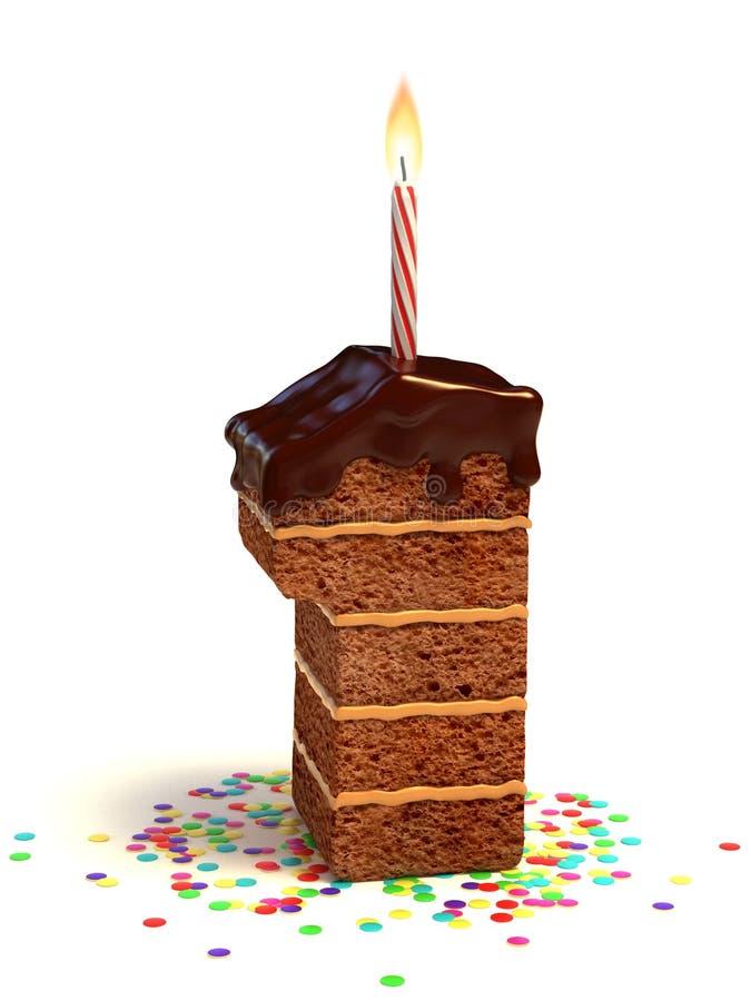 form för födelsedagcakenummer ett royaltyfri illustrationer