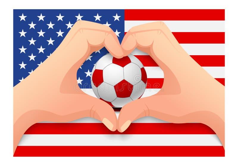 Form för hjärta för för Förenta staternafotbollboll och hand vektor illustrationer