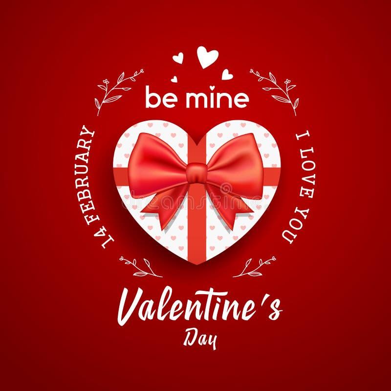 Form för hjärta för gåvaask med lyckliga valentin för rött pilbågeband dag stock illustrationer