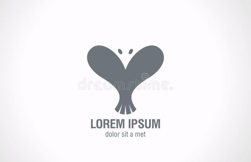 Form för Logo Bird abstrakt begrepphjärta. Idérik förälskelsedesi stock illustrationer