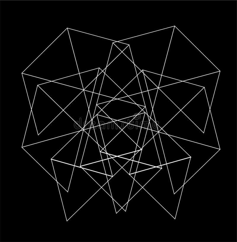 Form för NÄTVERK för triangelmodell sexhörnig för tapet och abstrakt bakgrund royaltyfri illustrationer