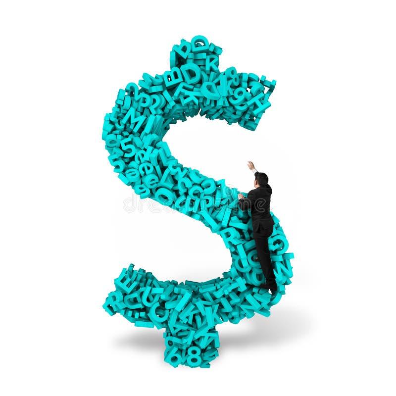 Form för pengar för tecken för affärsmanklättringdollar, stora data för tecken 3d fotografering för bildbyråer