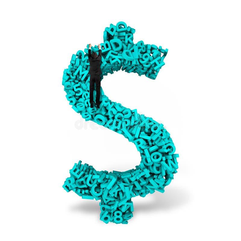 Form för pengar för tecken för affärsmanklättringdollar, stora data för tecken 3d arkivbild