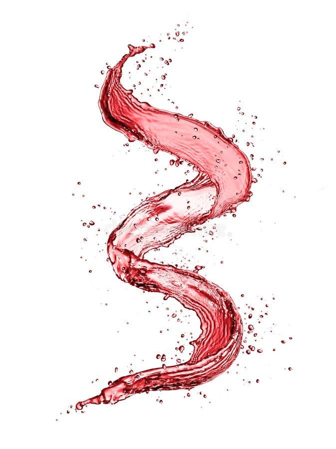 Form för rött vinabstrakt begreppfärgstänk på vit bakgrund fotografering för bildbyråer