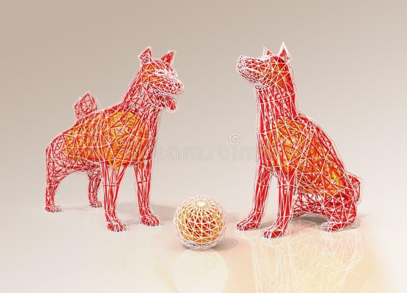 Form för ram för hundkapplöpning`-tråd i låg polygonstil vektor illustrationer