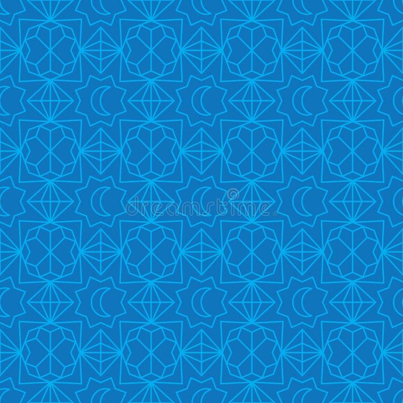 Form för Ramadanmånediamant att förbinda den blåa sömlösa modellen royaltyfri illustrationer