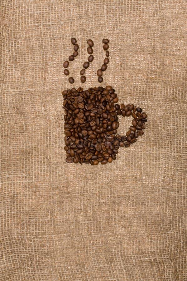 form för sackcloth för bönakaffekopp royaltyfri fotografi