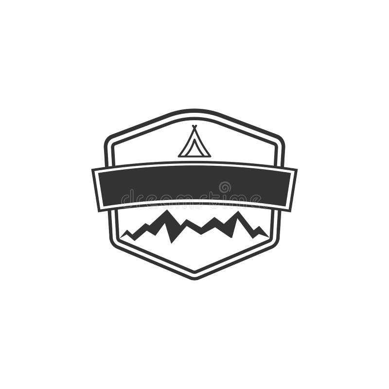 Form för vektormellanrumsemblem med berg Goda för retro affärsföretagetiketter, logoer Design för tappningkonturgradbeteckning vektor illustrationer