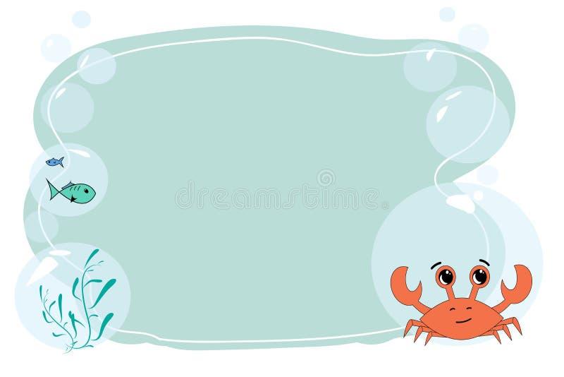 Form für Text und Anmerkungen mit einer Karikaturkrabbe und -fisch Vektorfreier raum für eine Fahne auf dem Marinethema Form für  lizenzfreie abbildung