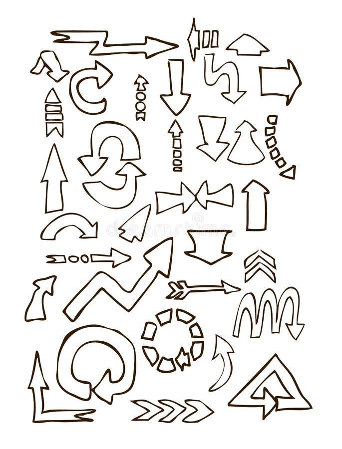 Form-Handabgehobener betrag der Pfeile unterschiedlicher stock abbildung