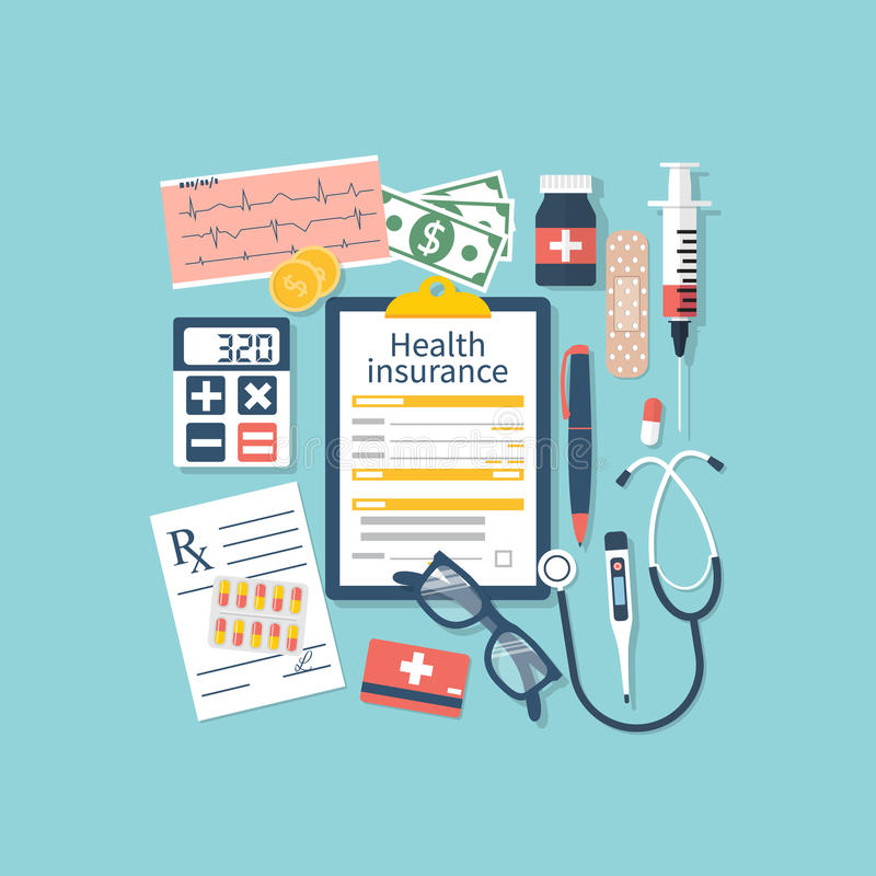 Form of health insurance. Medical equipment, money, prescription medications. Healthcare concept. Vector illustration flat design style. Life planning. Claim royalty free illustration
