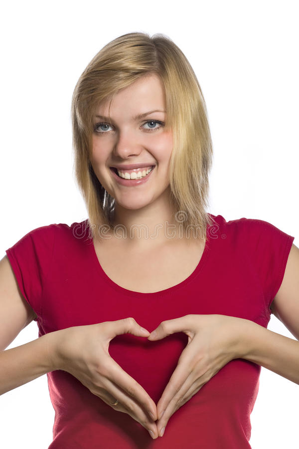 Form of heart shaped by hands stock photo