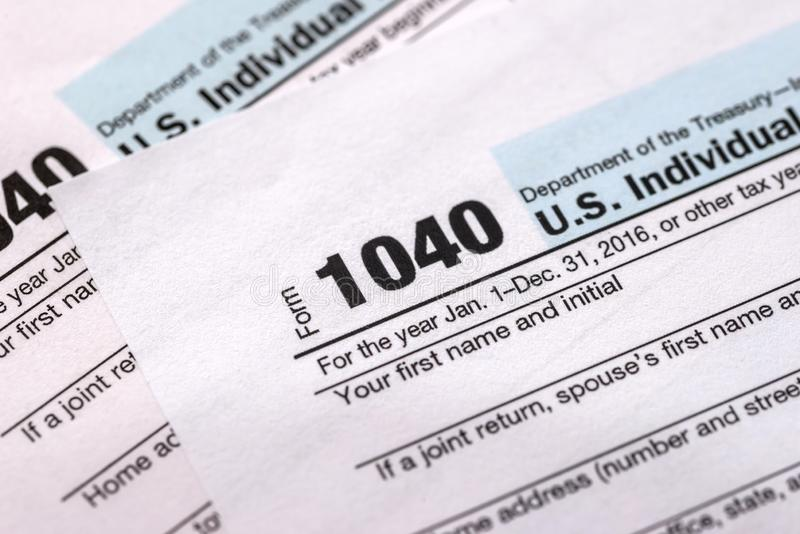 Form of income tax return. Of individuals royalty free stock photo