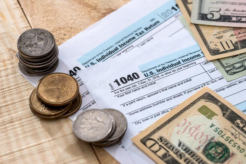 Form of income tax return of individuals.  stock photography