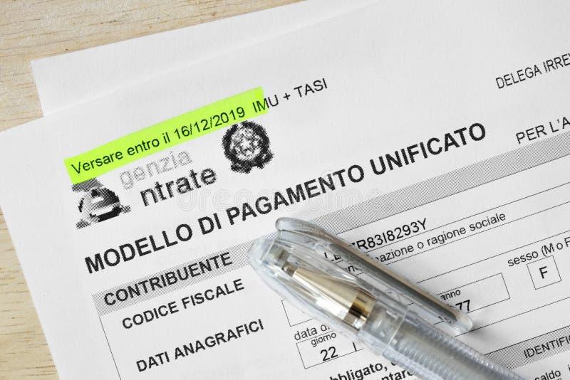 Form for italian taxes - Modello di pagamento unificato F24. Form for italian taxes closeup - Modello di pagamento unificato F24 royalty free stock images